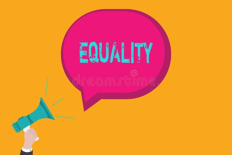 Testo della scrittura che scrive uguaglianza Stato di significato di concetto di essere uguale particolarmente nei diritti o nell illustrazione di stock