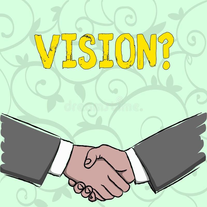 Testo della scrittura che scrive Visionquestion Impegno della società di significato di concetto che descrive stato realistico fu illustrazione vettoriale