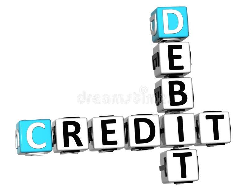testo delle parole incrociate di debito di credito 3D illustrazione vettoriale