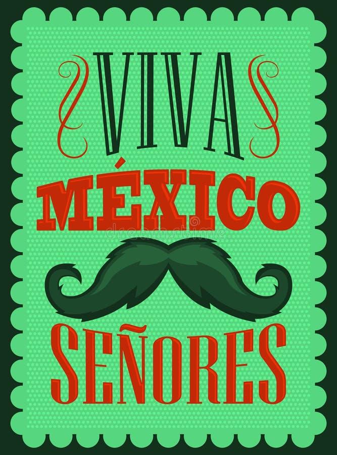 Testo dello Spagnolo dei signori di Viva Mexico - di Viva Mexico Senores illustrazione vettoriale