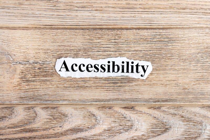 Testo di Accessibilit su carta Parola Accessibilit su carta lacerata Immagine di concetto fotografia stock