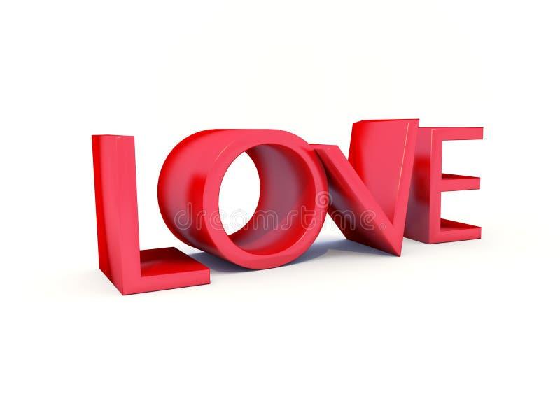 Testo di amore 3d immagini stock