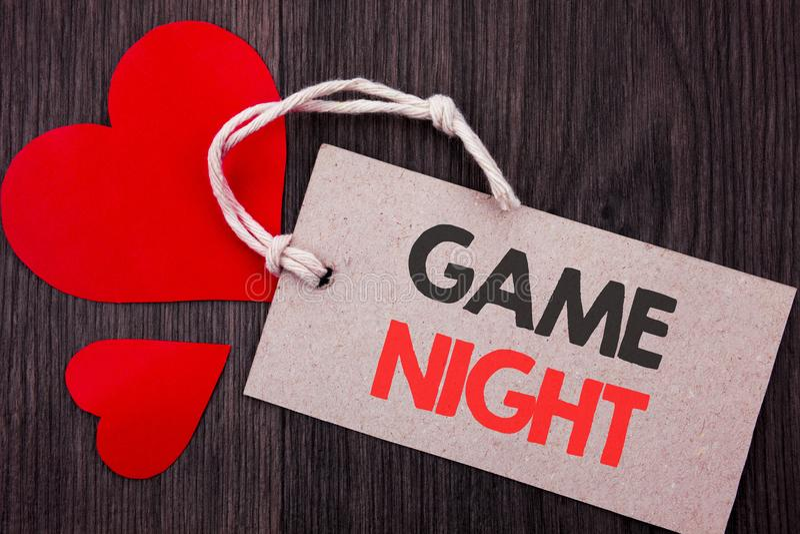 Testo di annuncio della scrittura che mostra notte del gioco Concetto di affari per l'evento di tempo del gioco di divertimento d immagini stock
