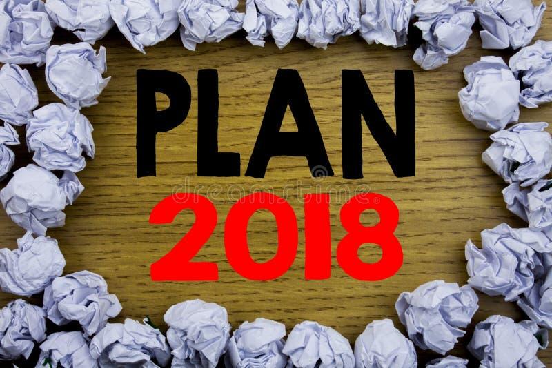Testo di annuncio della scrittura che mostra piano 2018 Concetto di affari per il piano d'azione di progettazione di strategia sc immagine stock libera da diritti