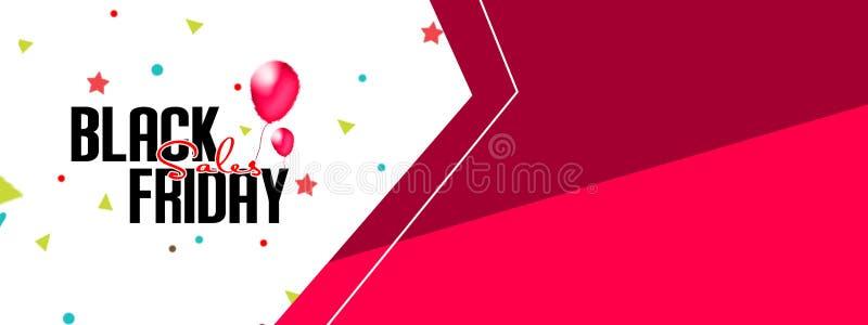 Testo di Black Friday con i palloni rossi sulle insegne di vendita con i coriandoli e la serpentina Fondo bianco e rosso Illustra illustrazione di stock