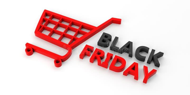 Testo di Black Friday e un carrello isolato su fondo bianco illustrazione 3D royalty illustrazione gratis