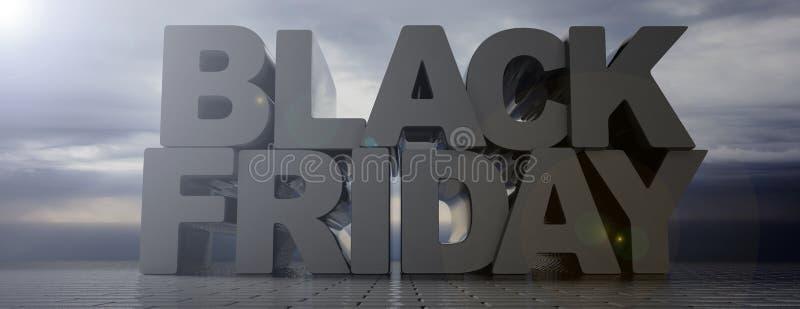 Testo di Black Friday, grandi lettere, fondo scuro nuvoloso del cielo, pavimentazione delle tegole di cemento armato, insegna ill royalty illustrazione gratis
