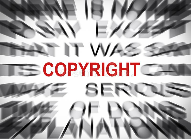 Testo di Blured con il fuoco su COPYRIGHT immagine stock libera da diritti