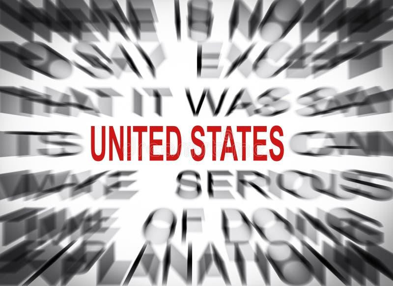 Testo di Blured con il fuoco sugli STATI UNITI immagine stock libera da diritti