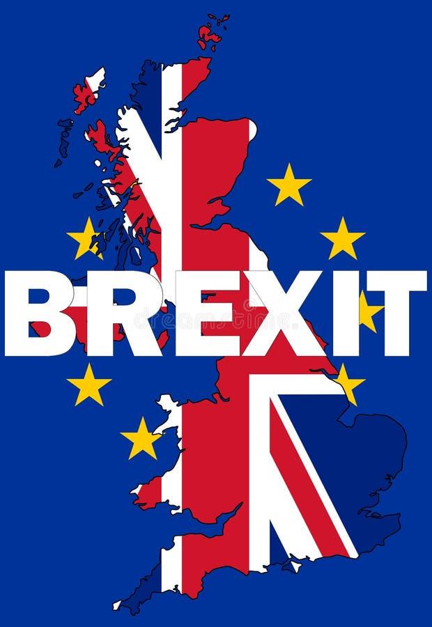 Testo di Brexit con la mappa BRITANNICA illustrazione di stock