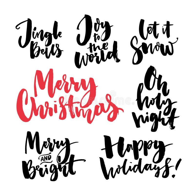 Testo di Buon Natale e saluti stagionali Parole scritte a mano di calligrafia della spazzola per le cartoline d'auguri e le etich illustrazione vettoriale