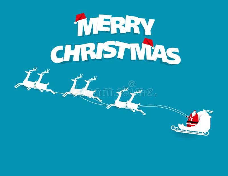 Testo di Buon Natale Incrocio e renna di Santa su backgroun blu illustrazione vettoriale