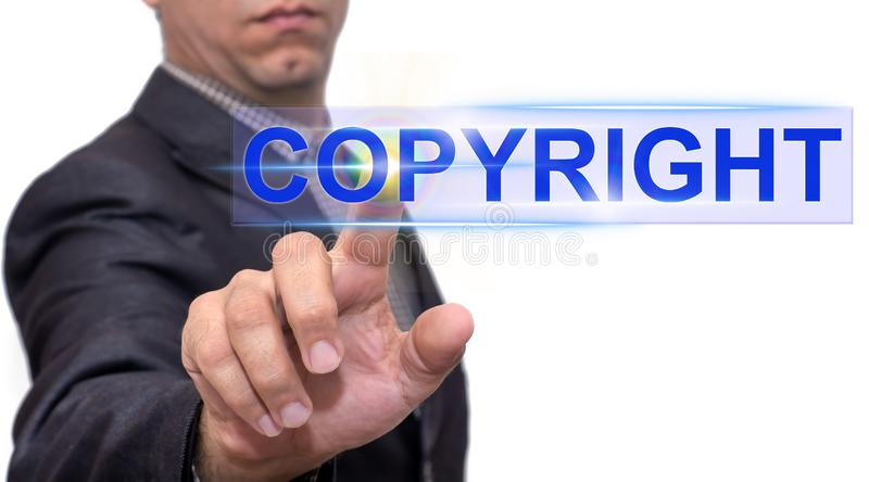 Testo di Copyright con l'uomo d'affari immagini stock