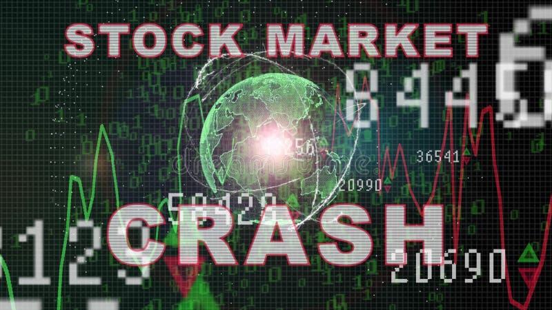 Testo di crollo del mercato azionario sul grafico del mercato azionario con l'esposizione di prezzi dell'istogramma, schermo di c illustrazione vettoriale