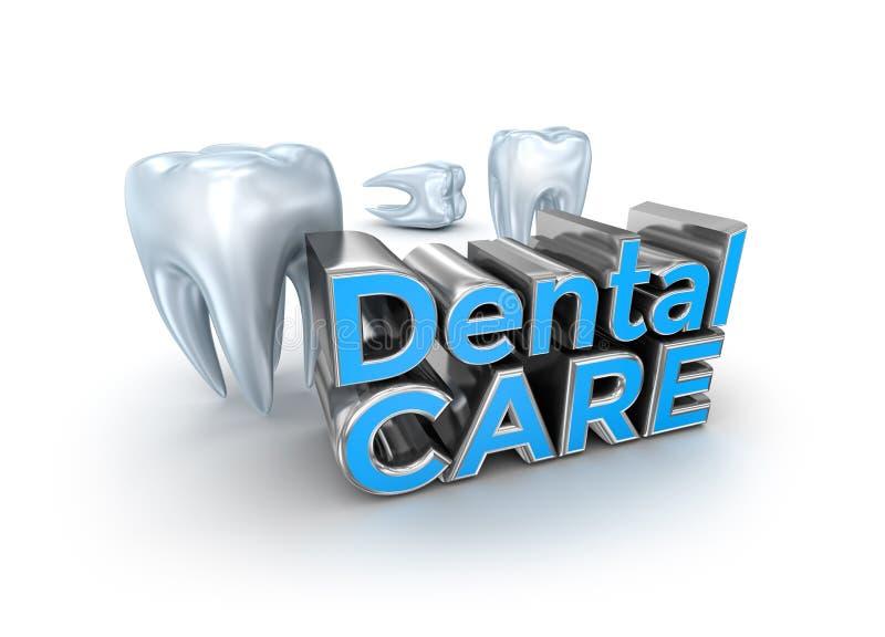 Testo di cure odontoiatriche e denti, concetto 3d illustrazione vettoriale