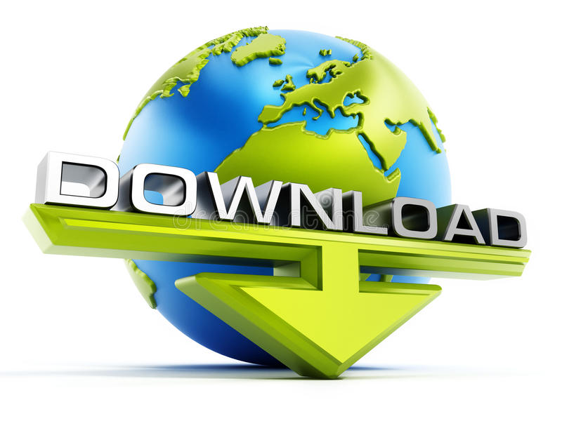Testo di download e freccia davanti al globo royalty illustrazione gratis