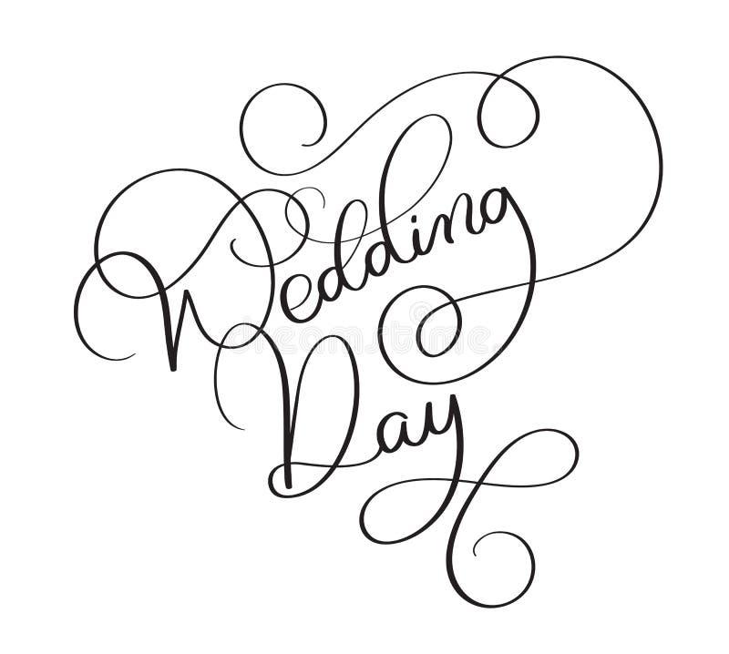 Testo di giorno delle nozze su fondo bianco Illustrazione d'annata disegnata a mano EPS10 di vettore dell'iscrizione di calligraf royalty illustrazione gratis