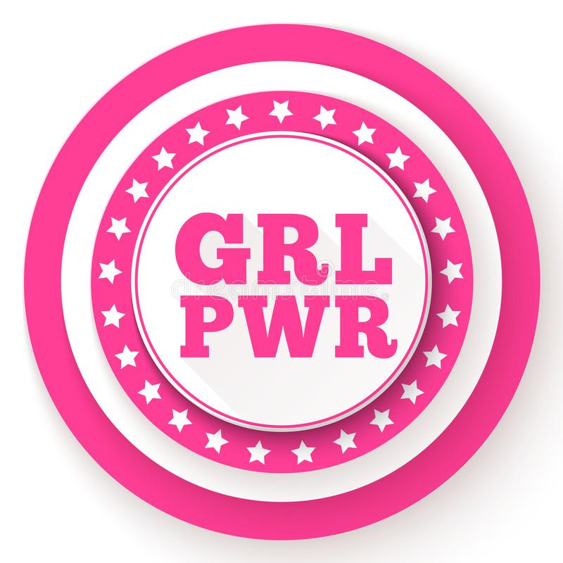 Testo di GRL PWR Slogan di potere della ragazza per autorizzazione ed indipendenza delle ragazze Femminismo, movimento dei diritt illustrazione di stock