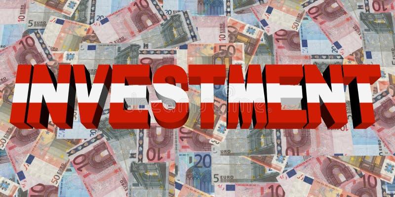 Testo di investimento con la bandiera dell'Austria sull'illustrazione degli euro illustrazione vettoriale