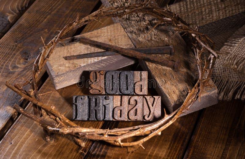 Testo di legno di venerdì santo immagine stock libera da diritti