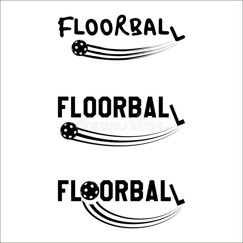 Testo di logo di Floorball illustrazione di stock