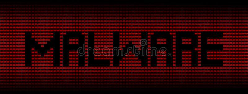 Testo di malware sull'illustrazione rossa del fondo dei computer portatili royalty illustrazione gratis