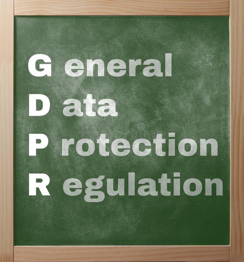 Testo di regolamento di Protectioin di dati generali sul greenboard della scuola dentro fotografia stock