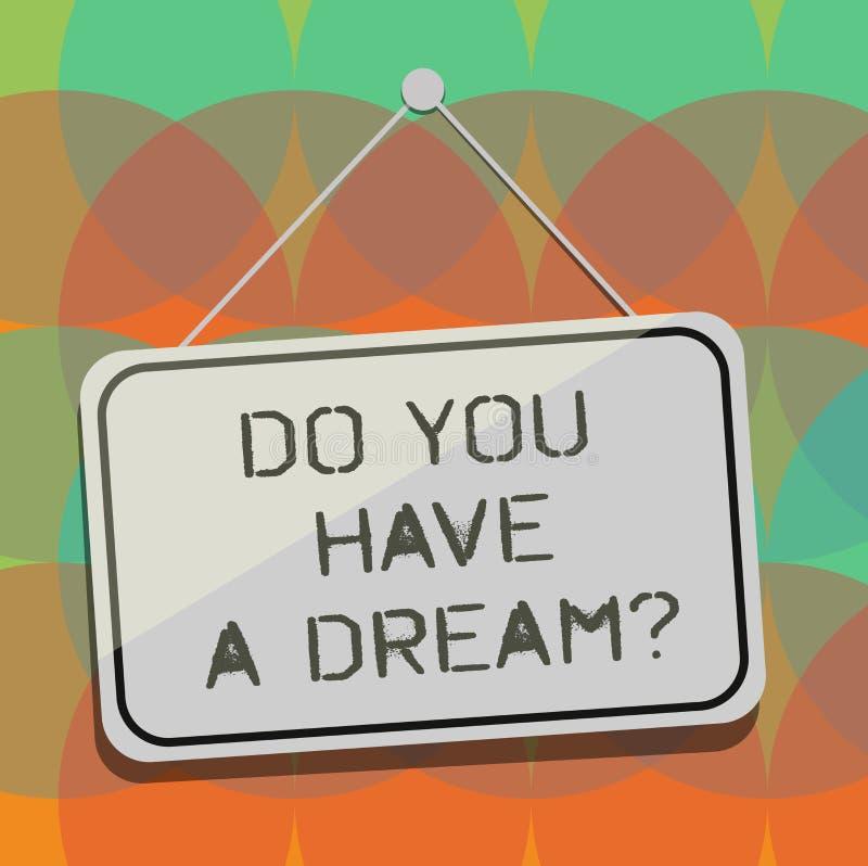 Testo di scrittura di parola avete un Dreamquestion Il concetto di affari per ci dice che cosa i vostri scopi ed aspettative sono illustrazione di stock