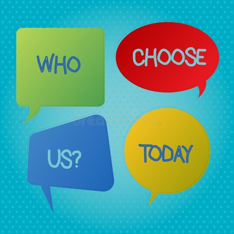 Testo di scrittura di parola che sceglie Usquestion Il concetto di affari per il genere di rappresentazione che seleziona i nostr illustrazione di stock