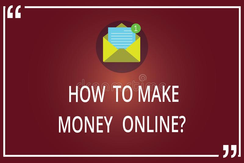 Testo di scrittura di parola come fare soldi Onlinequestion Concetto di affari affinchè strategie ottengano i guadagni su Interne illustrazione di stock