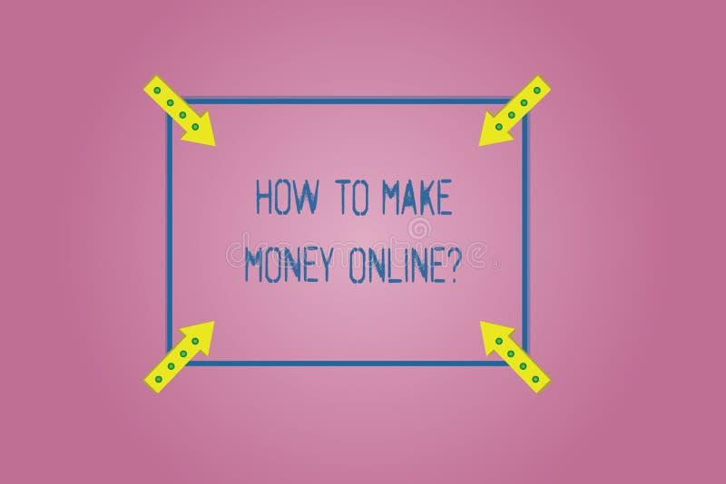 Testo di scrittura di parola come fare soldi Onlinequestion Concetto di affari affinchè strategie ottengano i guadagni su Interne royalty illustrazione gratis