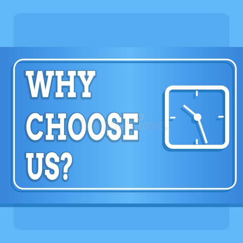 Testo di scrittura di parola perché scelgaci domanda Concetto di affari per la lista dei vantaggi e degli svantaggi per seleziona royalty illustrazione gratis