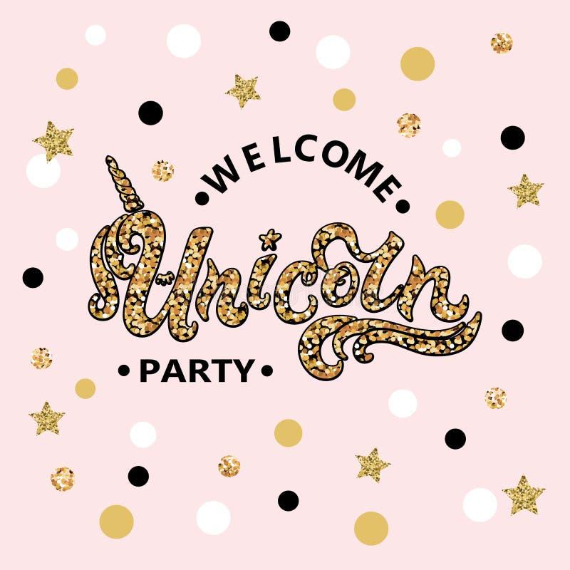 Testo di Unicorn Party di benvenuto dell'illustrazione di vettore isolato su fondo rosa illustrazione di stock