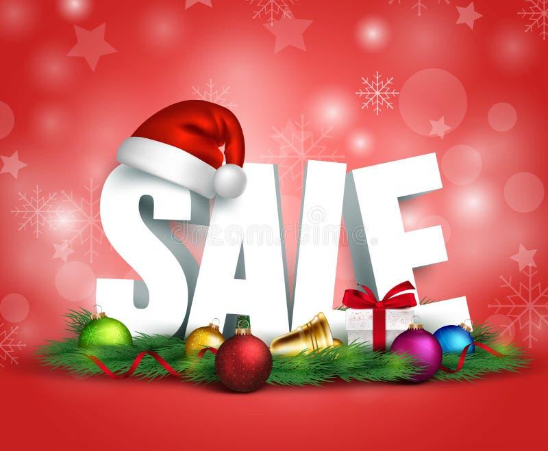 testo di vendita di Natale 3D per la promozione illustrazione vettoriale