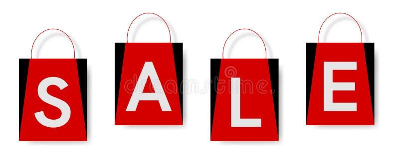 Testo di vendita sui sacchetti della spesa, con fondo bianco royalty illustrazione gratis