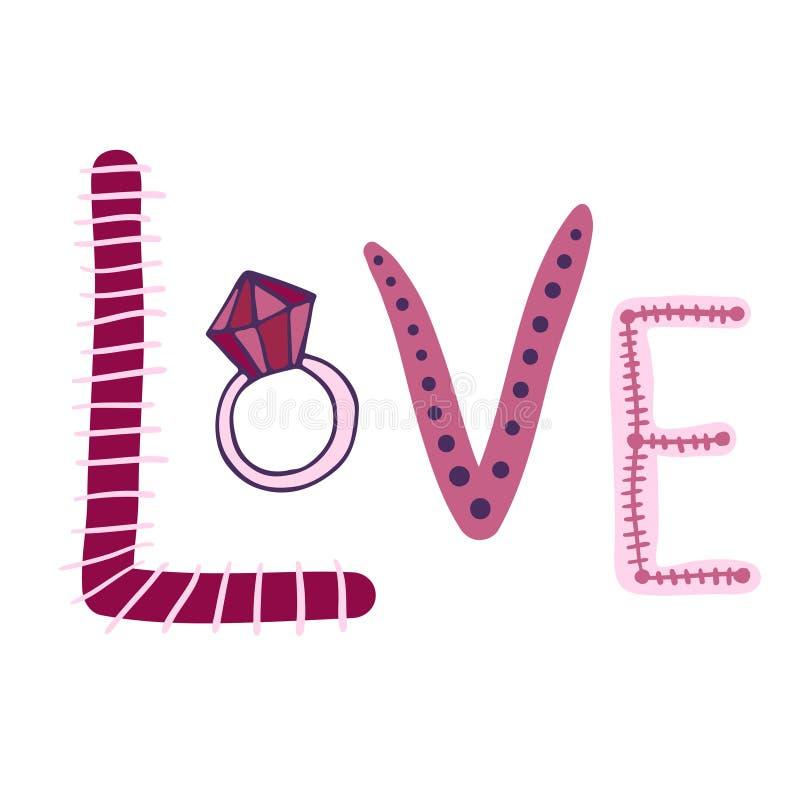 Testo di vettore di amore Stampa di nozze con l'anello Autoadesivo sveglio di scarabocchio illustrazione vettoriale