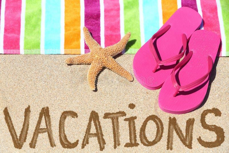 Testo di viaggio della spiaggia di vacanza fotografia stock