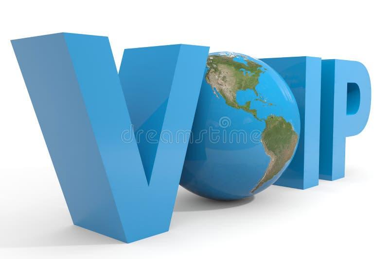 Testo di VOIP 3d. Globo della terra che sostituisce la lettera della O. illustrazione di stock