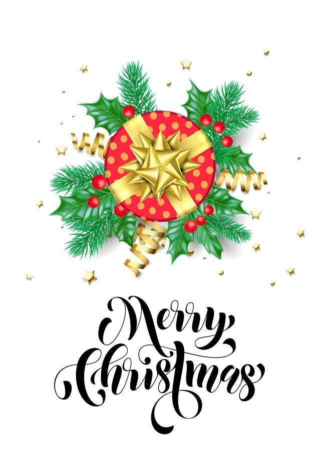 Testo disegnato a mano di calligrafia di festa di Buon Natale per il modello di progettazione del fondo della cartolina d'auguri  illustrazione di stock