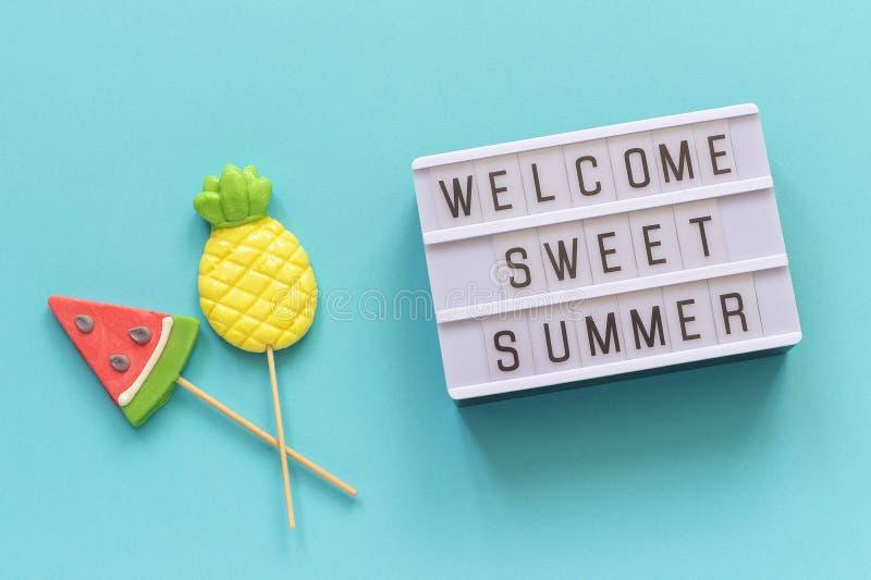 Testo dolce benvenuto di estate sulle lecca-lecca della scatola leggera, dell'ananas e dell'anguria sul bastone su fondo blu Conc fotografia stock libera da diritti