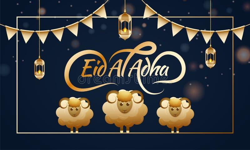 Testo dorato alla moda Eid Al Adha con l'animale delle pecore su backgr blu illustrazione di stock