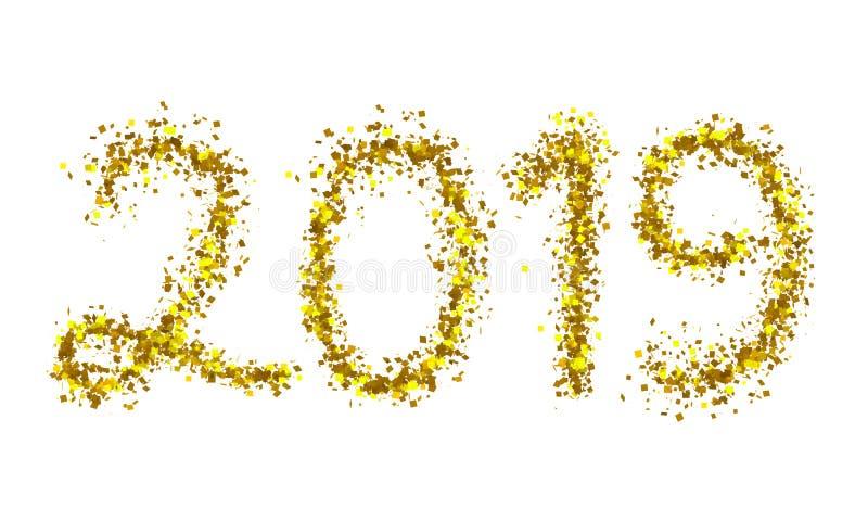 testo dorato della particella 2019 isolato su bianco illustrazione di stock