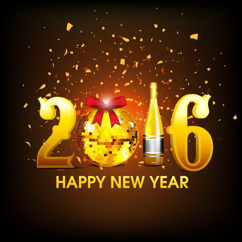 Testo dorato 2016 per la celebrazione del buon anno royalty illustrazione gratis