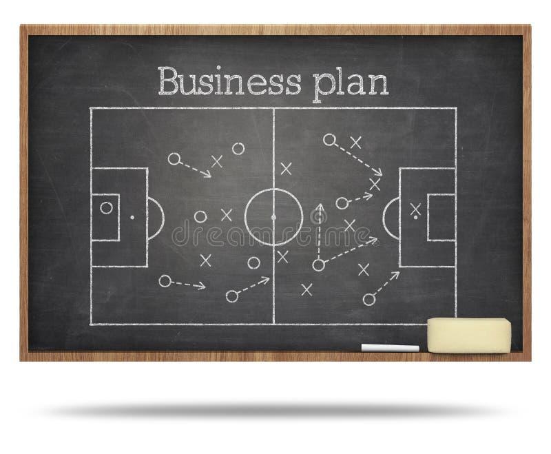 Testo e calcio del business plan fied sulla lavagna immagini stock