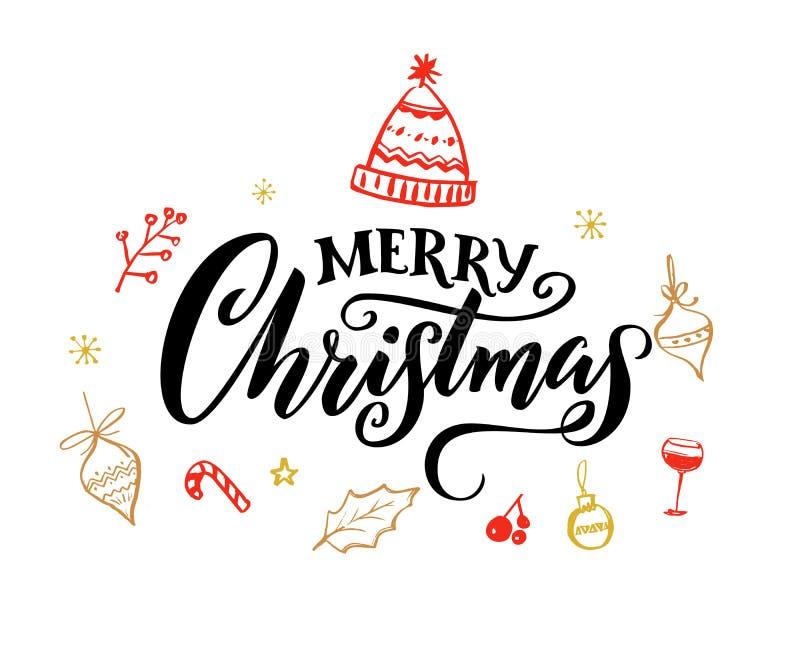 Testo elegante di Buon Natale con gli sciabordii di calligrafia royalty illustrazione gratis