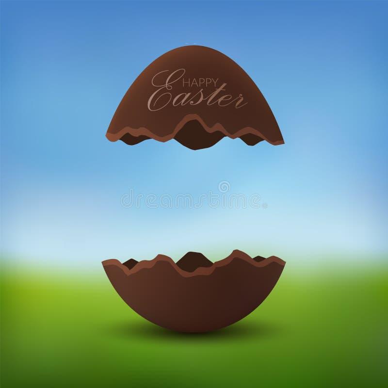 Testo felice dell'uovo di cioccolato 3D Pasqua Uovo di Pasqua marrone rotto, campo di erba verde vago, fondo del prato del cielo  royalty illustrazione gratis