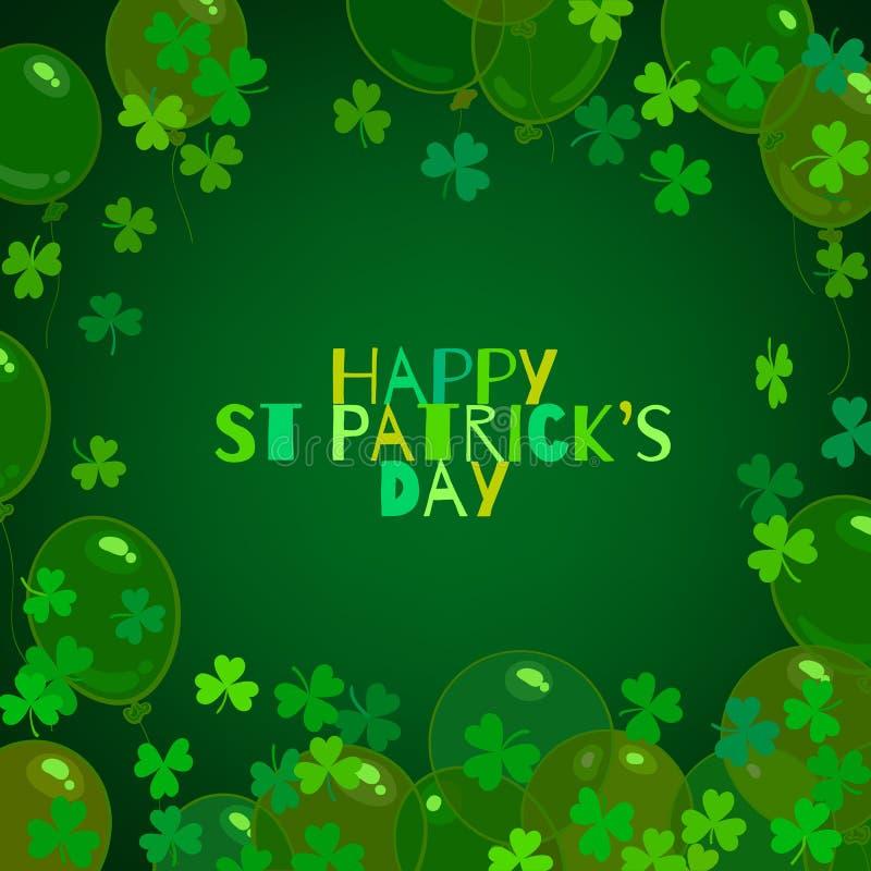 Testo felice di giorno della st Patricks, palloni, foglie del trifoglio dell'acetosella su fondo verde scuro Illustrazione di vet illustrazione di stock