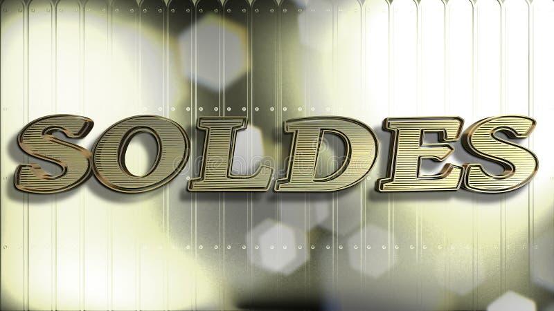 Testo francese dell'oro 3D di vendita fotografia stock