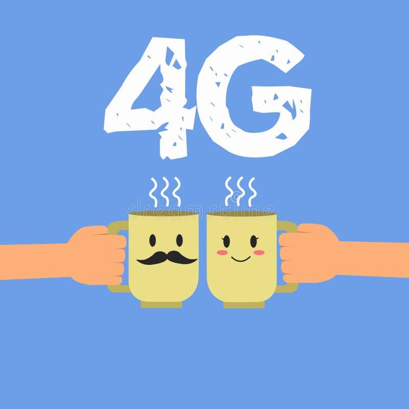 Testo 4G della scrittura Concetto che significa accesso Internet senza fili standard di comunicazione su mezzi mobili ad un'più a illustrazione di stock