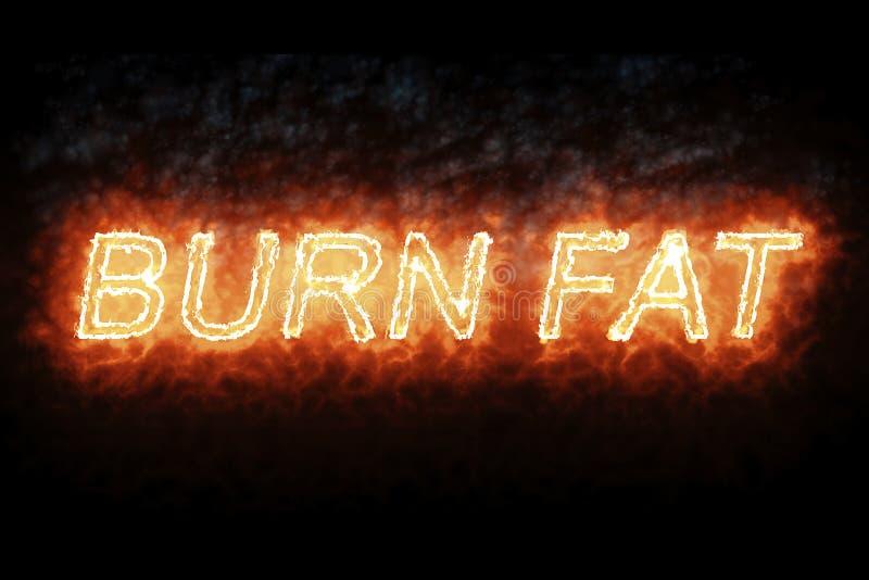Testo grasso di parola del fuoco dell'ustione bruciante della fonte con la fiamma e fumo su fondo nero, concetto di vita sana di  illustrazione vettoriale
